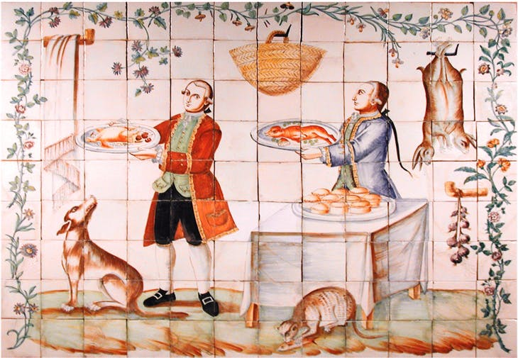 Liveried servants carrying food-laden platters (c. 1770), Vincente Navarro. Carlton Hobbs, price on application