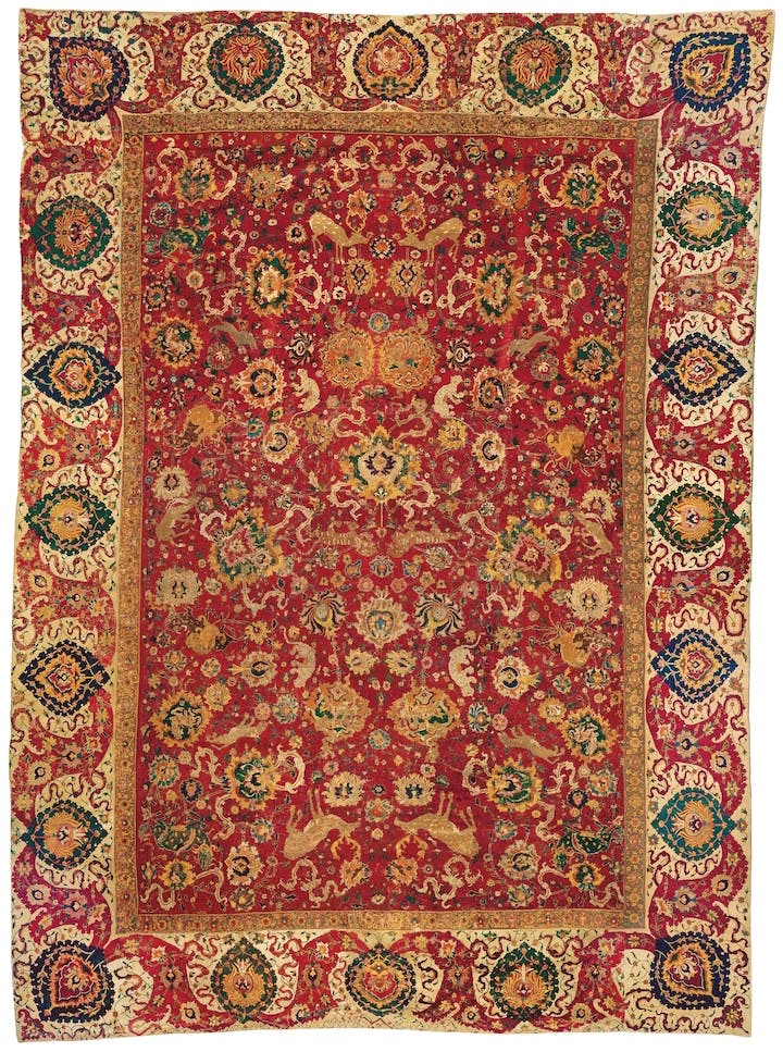 Garden carpet with a scene of animals fighting. Persian. Photo: Galleria Moshe Tabibnia