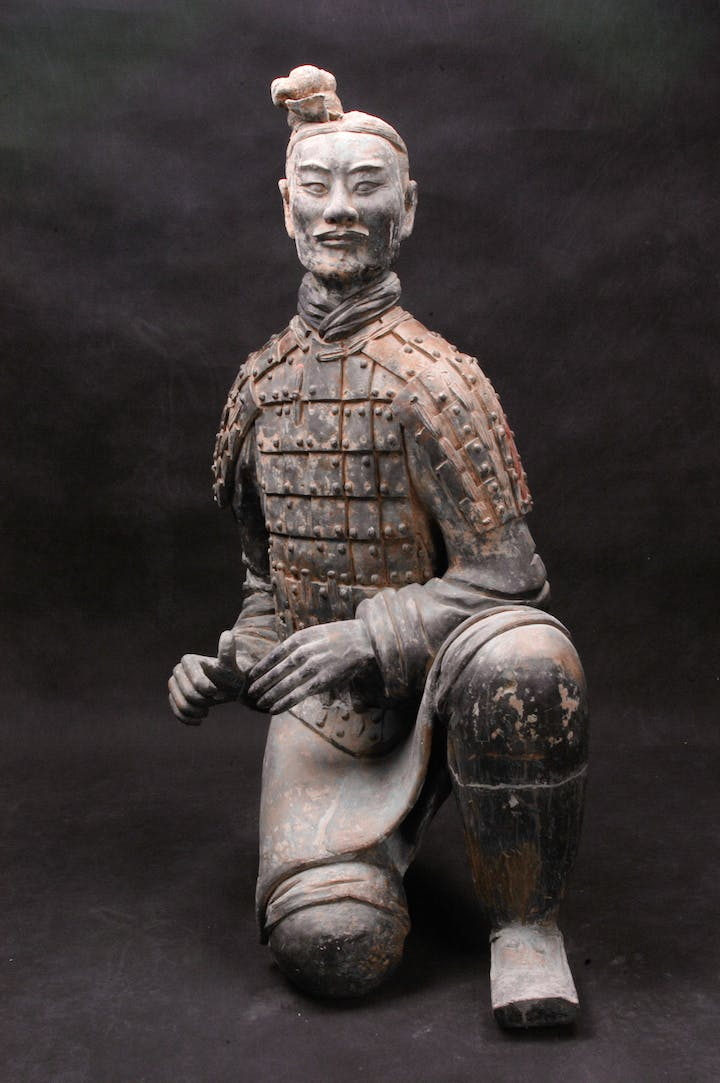 Kneeling Archer from the Qin Dynasty (221–206 BC), excavated in 1977. Photo: Courtesy Qin Shihuangdi Mausoleum Site Museum Lintong