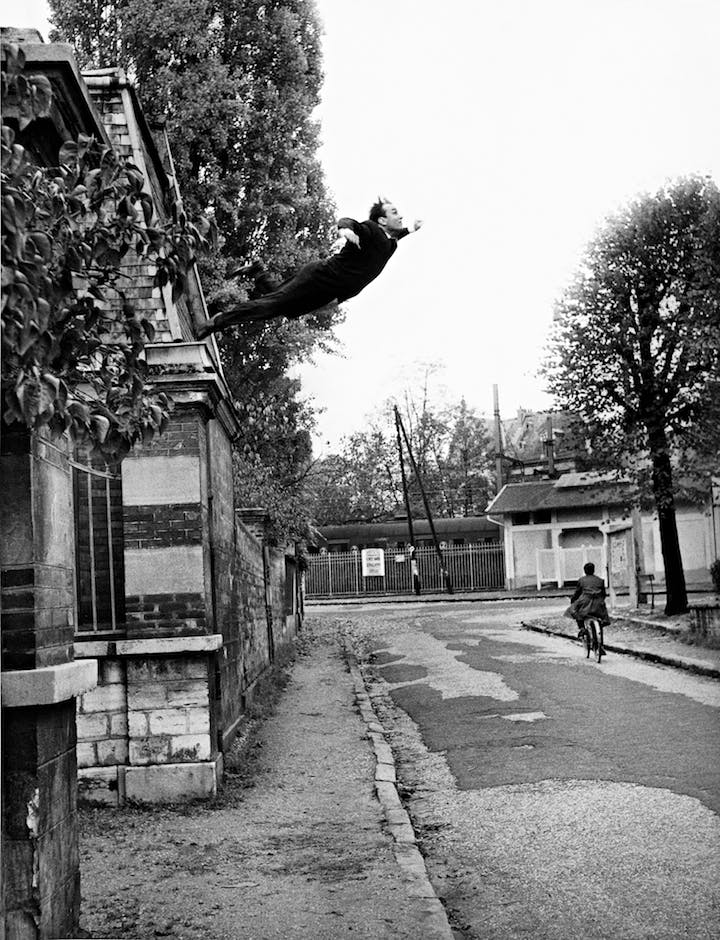 "Yves Klein's ""Leap Into the Void"" (October 1960), Harry Shunk and János Kender. © Yves Klein, ADAGP, Paris and DACS, London 2016. Collaboration Harry Shunk and János Kender © J. Paul Getty Trust. Getty Research Institute, Los Angeles"