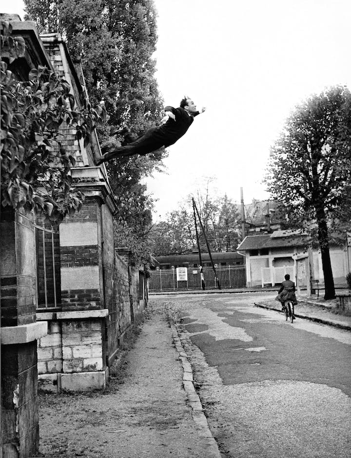 """Yves Klein's """"Leap Into the Void"""" (October 1960), Harry Shunk and János Kender. © Yves Klein, ADAGP, Paris and DACS, London 2016. Collaboration Harry Shunk and János Kender © J. Paul Getty Trust. Getty Research Institute, Los Angeles"""