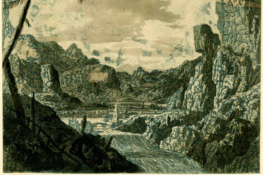 Landscape with a waterfall, second version, British Museum, London, courtesy the Trustees of the British Museum, London