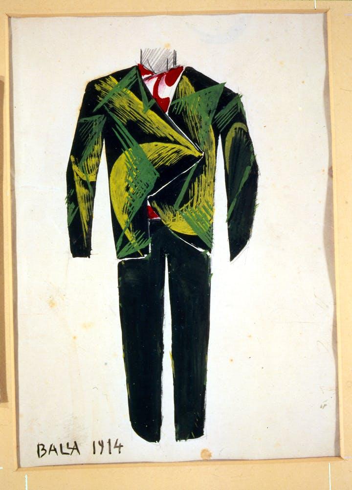 Design for a Man's Suit (1914), Giacomo Balla. Courtesy The Biagiotti Cigna Collection