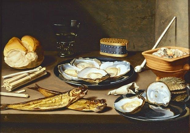 Still Life with Fish and Oysters (c.1625-1630), Floris van Schooten. Haarlem, Frans Hals Museum