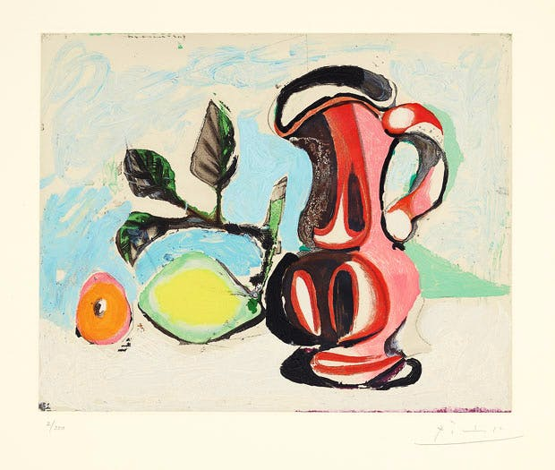 Nature morte au citron et pichet rouge (Still Life with Lemon and Red Pitcher) (1964), after Pablo Picasso. Estimate: $6,000–8,000. Image courtesy of Phillips / Phillips.com