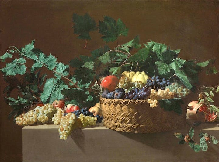 Still Life with Quinces, Apples, Azeroles (Hawthorn berries), Black grapes, White grapes, Figs and Pomegranates Bartolomeo Cavarozzi (1587–1625), Italian painter active in Spain. Sold at Colnaghi, asking price €5m
