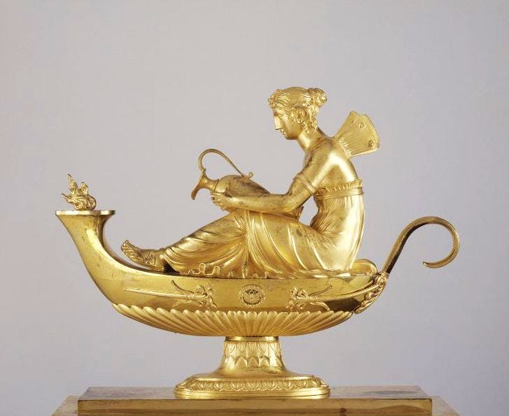Andiron representing Psyche, , 1809, made by Pierre-Philippe Thomire, after a design by Charles Percier.