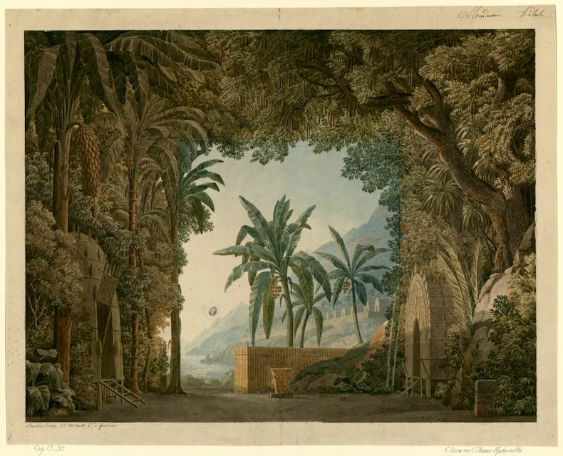 Set design for Elisca, or Maternal Love, Act I, 1799, Charles Percier, Pierre Fontaine, and Jean Thomas Thibault, Bibliothèque nationale de France, Paris