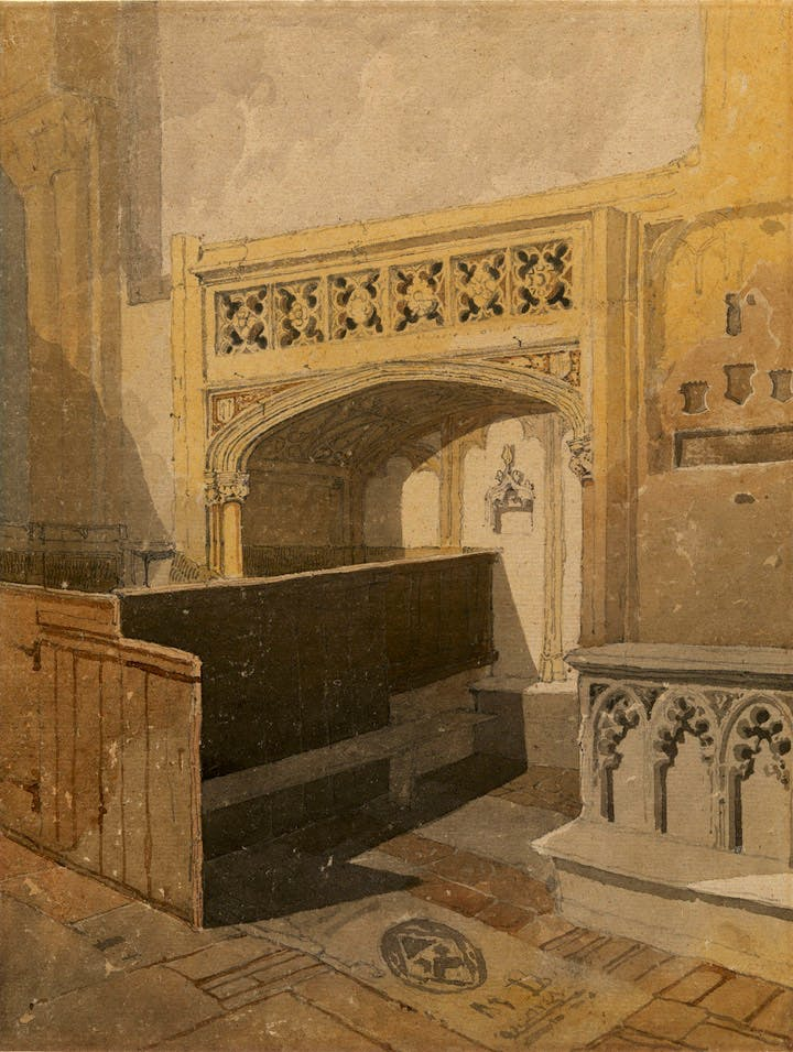 Norwich Cathedral: the North aisle of the choir (c. 1807–11), John Sell Cotman. Lowell Libson, around £200,000