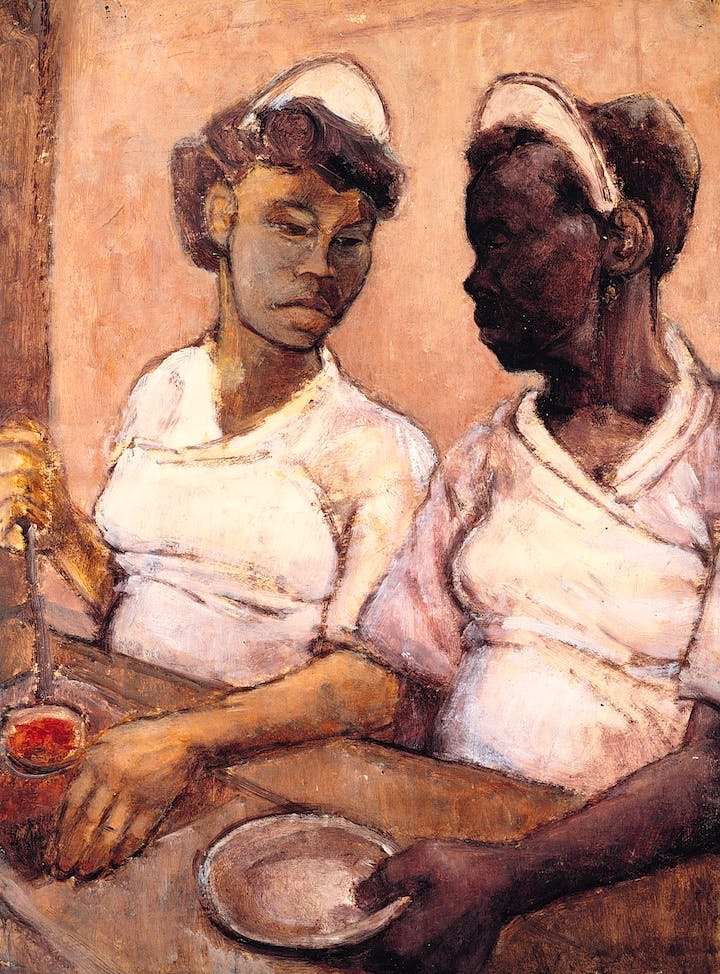 West Indian Waitresses (c. 1955), Eva Frankfurther. © The Estate of Eva Frankfurther