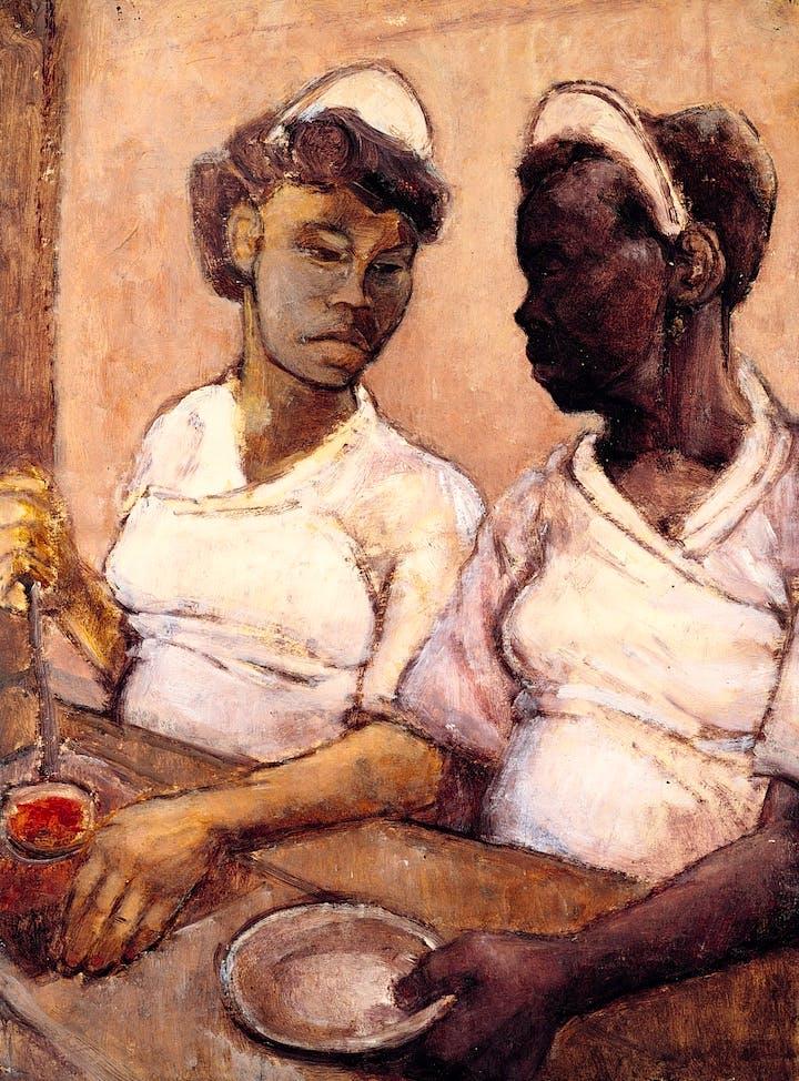 West Indian Waitresses (c. 1955), Eva Frankfurther. © The Estate of Eva Frankfurther