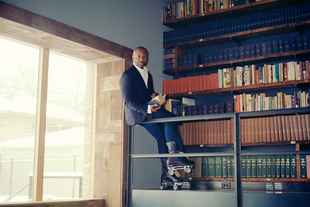 Theaster Gates in the Stony Island Arts Bank, Chicago, which houses the Johnson Publishing Company archive. Photo: Mark Peckmezian