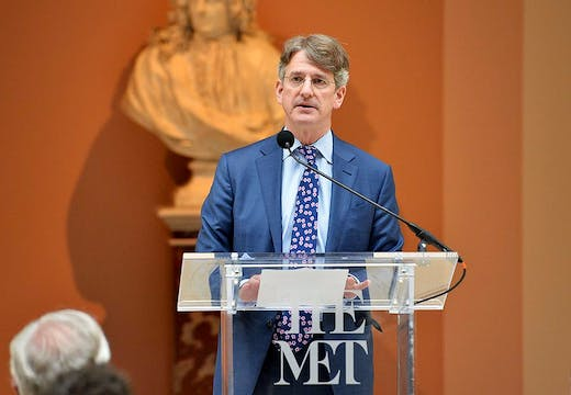 Metropolitan Museum director Thomas P. Campbell (pictured here speaking at the opening of the exhibition 'Manus x Machina' in 2016), has been awarded the second annual Getty Rothschild Fellowship.