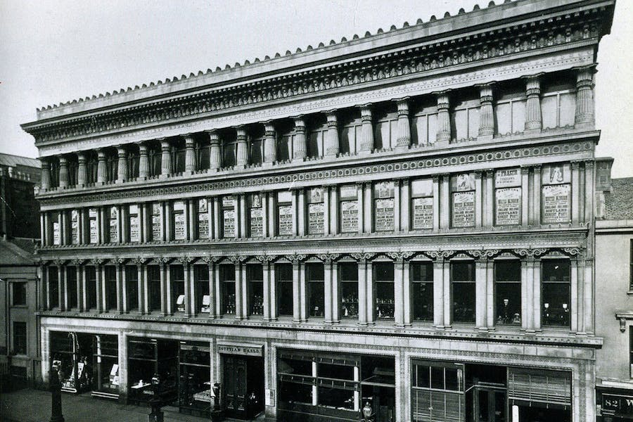 The Egpytian Halls, Glasgow, designed by Alexander Thomson and photographed by Thomas Annan in 1874, the year the building opened