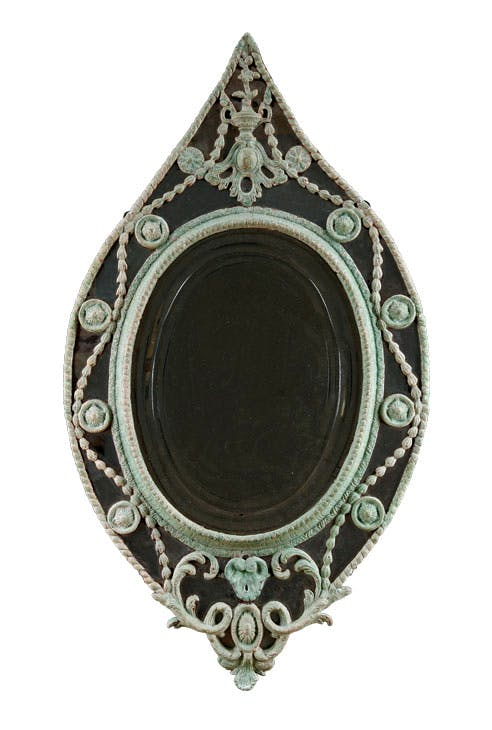 George III elliptical mirror (c. 1785), English, carton pierre. James WcWhirter Antiques, £11,800