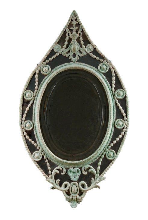 George III elliptical mirror (c. 1785), English, carton pierre. James WcWhirter Antiques, £11,800
