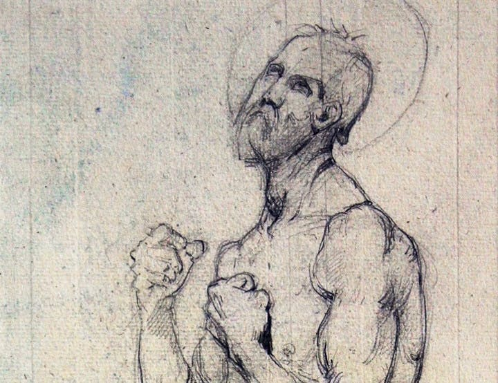 Saint Francis of Assisi (detail) (1842), Jean-Auguste-Dominique Ingres. Galerie de Bayser, €40,000