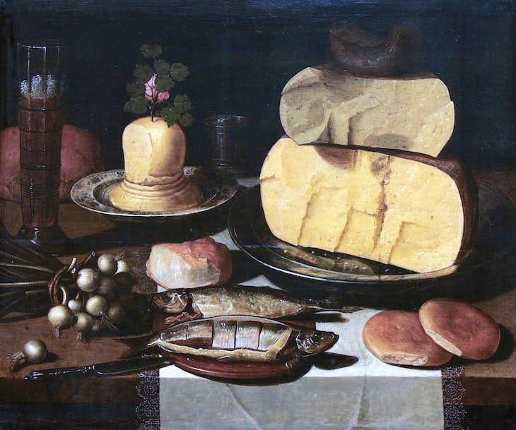 Still Life with Cheese, Fish, and Onions (c. 1615), artist unknown
