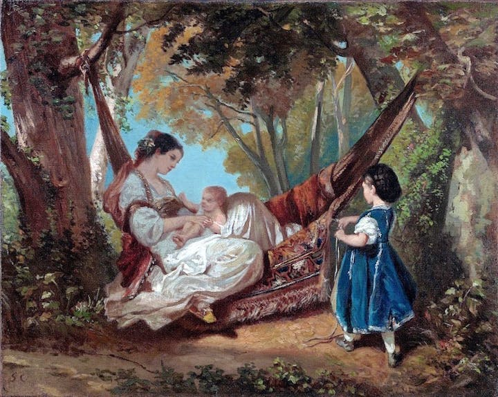 Mother and Child on a Hammock (c. 1844), Gustave Courbet. Matthiesen Gallery, price on application