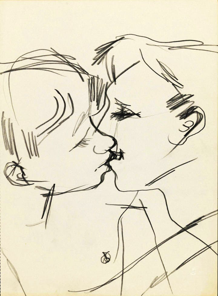 Drawing of two men kissing (1958–73), Keith Vaughan. © DACS, The Estate of Keith Vaughan