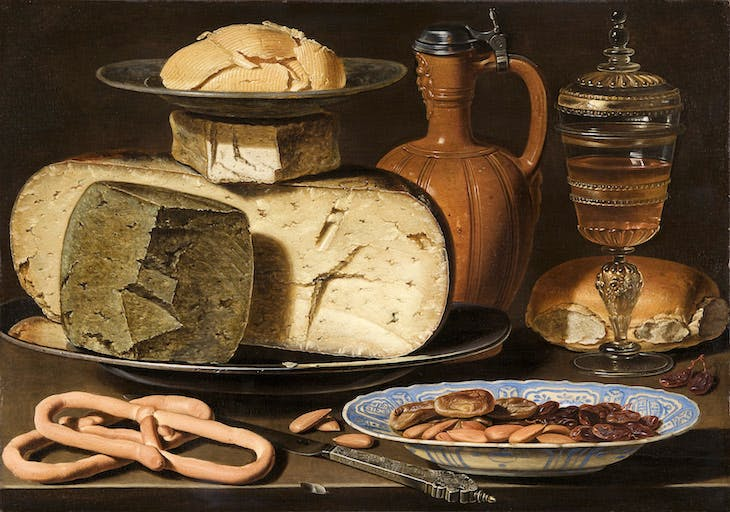 Still Life with Cheeses, Almonds, and Pretzels (c. 1615), Clara Peeters
