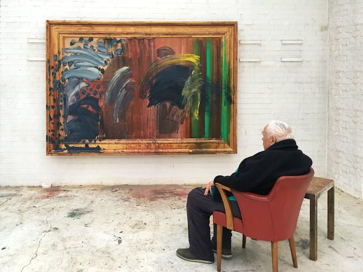 Portrait of Howard Hodgkin featuring Portrait of the Artist Listening to Music (2016), photographed by Miriam Perez. Courtesy Gagosian.