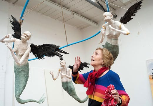 Paula Rego in the studio with the Flying Mermaids. © Nick Willing