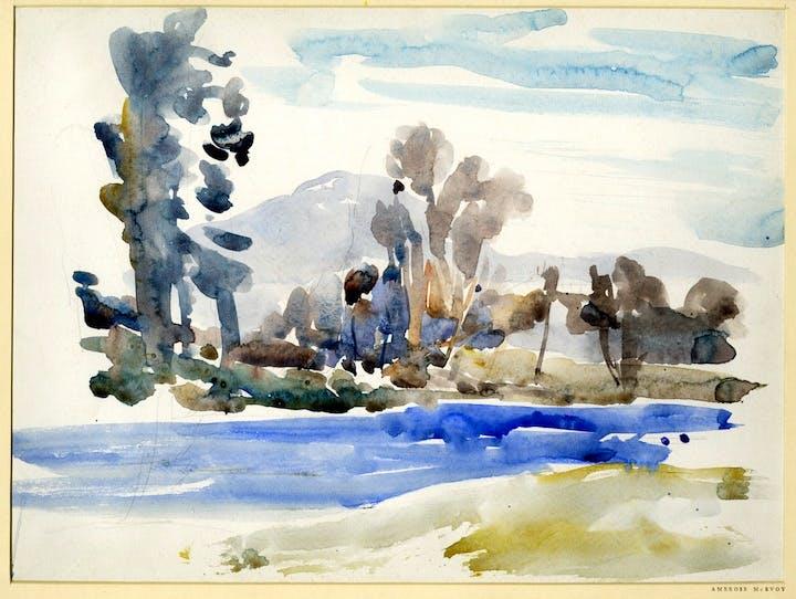 River landscape (c. 1910s), Ambrose McEvoy. © The Trustees of the British Museum