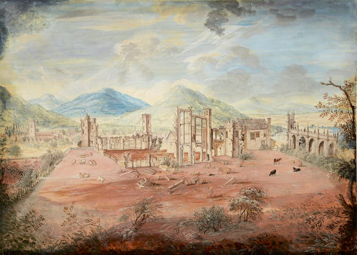 Sudeley Castle and St Mary's Church, Gloucestershire, showing the effects of the Cromwellian demolition of 1649 (c. 1740s), Thomas Robins the Elder. Guy Peppiatt, £25,000