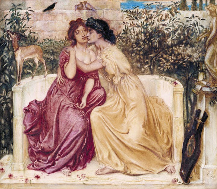 Sappho and Erinna in a Garden at Mytilene (1864), Simeon Solomon. Courtesy of Tate