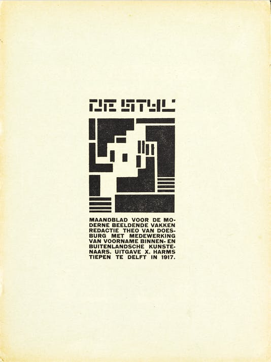 The cover of the second issue of De Stijl, published in December 2017.