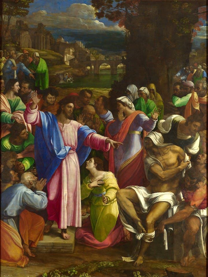 The Raising of Lazarus (1517–19), Sebastiano del Piombo incorporating designs by Michelangelo.