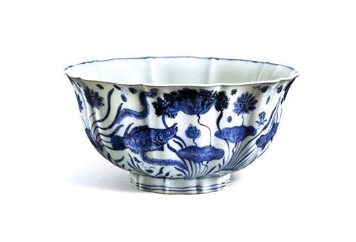 'Fish Pond' bowl, Ming, Xuande period (1426–35), blue and white porcelain, diam. 23cm. Sotheby's Hong Kong, estimate in the region of HK$100m