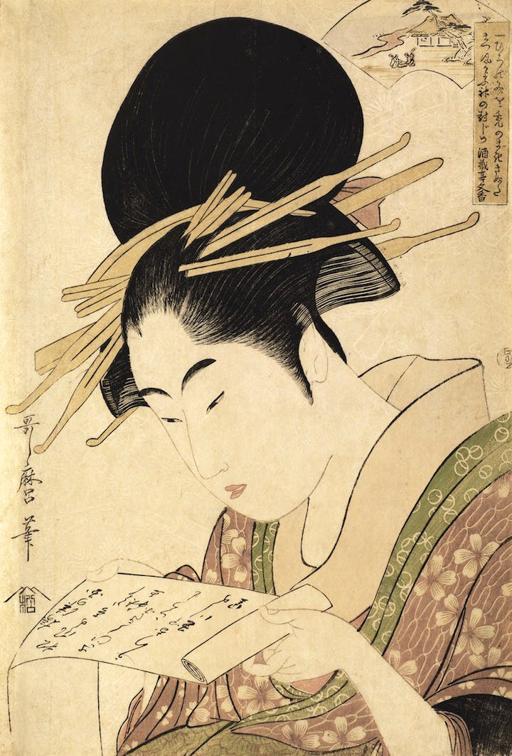 Mu Tamagawa (The Six Jewel Rivers), Kinuta Tamagawa (c. 1795–96), Kitagawa Utamaro. Galerie Tanakaya, price on application