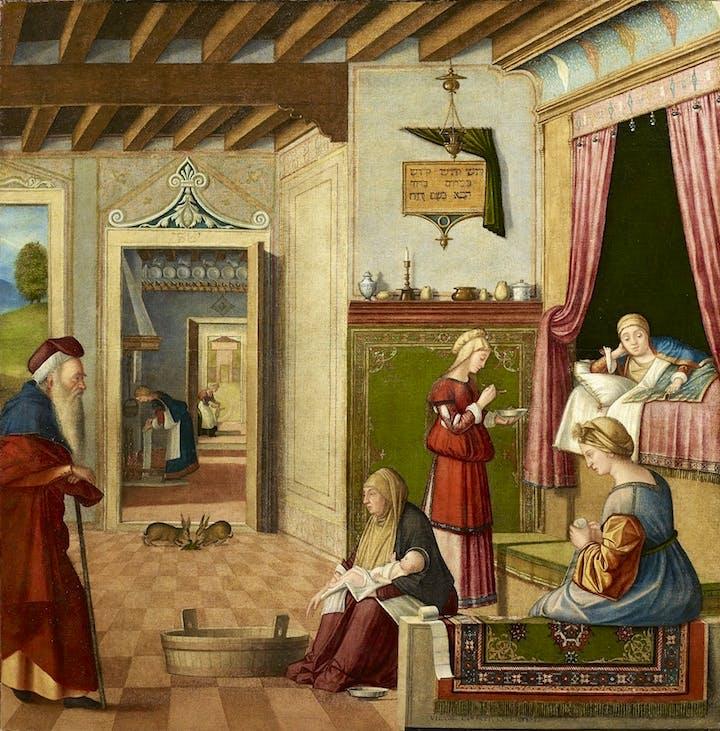 Nascita di Maria (1502–04), Vittore Carpaccio. Courtesy of Accademia Carrara, Bergamo