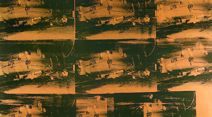Orange Car Crash Fourteen Times (detail) (1963), Andy Warhol. © 2017 Andy Warhol Foundation for the Visual Arts / Artists Rights Society (ARS), New York