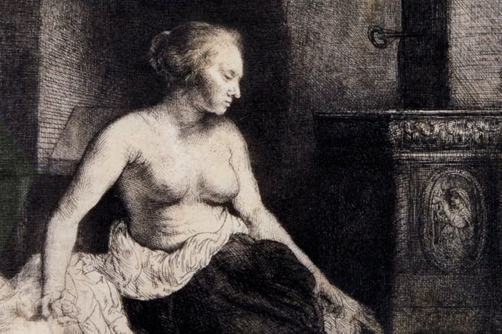Woman sitting half-dressed beside a stove (detail) (1658), Rembrandt van Rijn. David Tunick Inc., price on application