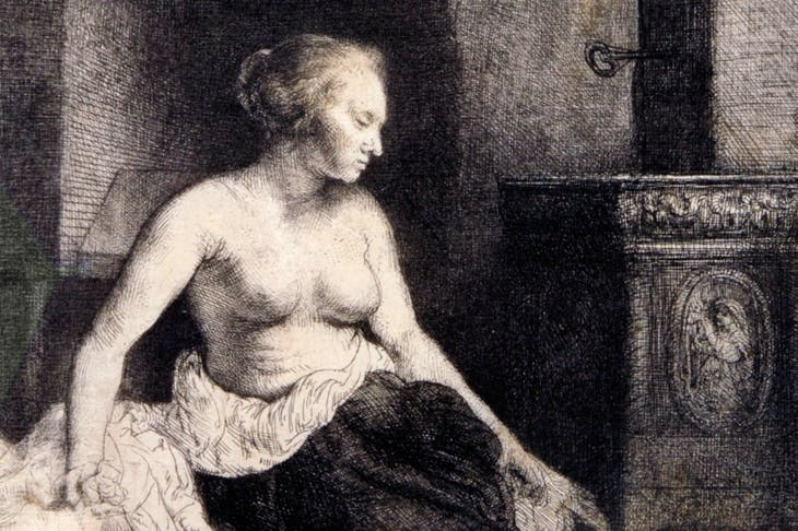 Woman sitting half-dressed beside a stove (detail) (1658), Rembrandt van Rijn. David Tunick Inc., price on application
