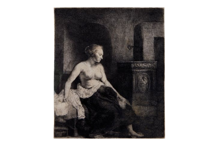 Woman sitting half-dressed beside a stove (1658), Rembrandt van Rijn. David Tunick Inc., price on application