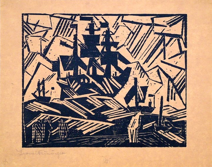 Barke auf Sea (Ship at Sea) (1918), Lyonel Feininger. Harris Schrank, $8,500