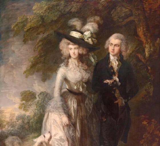 Mr and Mrs William Hallett ('The Morning Walk') (detail; 1785), Thomas Gainsborough.