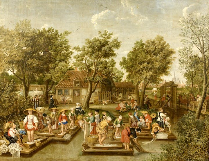 Washing Day: Women washing linen by the ramparts of Christianshavn, Copenhagen (c. 1660), Wolfgang Heimbach. Rafael Valls, price on request