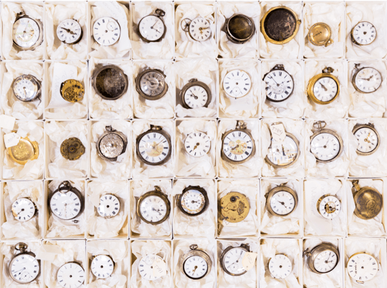 Clocks from Sheffield's Decorative Art collection. Image © Museums Sheffield