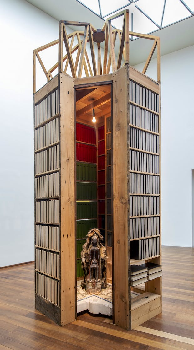 Installation view of New Egypt Sanctuary of the Holy Word and Image and Elegua in Winter (2017), Theaster Gates. Courtesy of the artist, White Cube, and Regen Projects