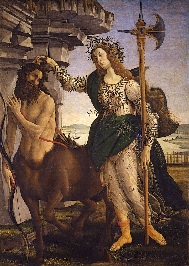 Pallas and the Centaur (1481), Sandro Botticelli. Uffizi Gallery; courtesy Museum of Fine Arts, Boston