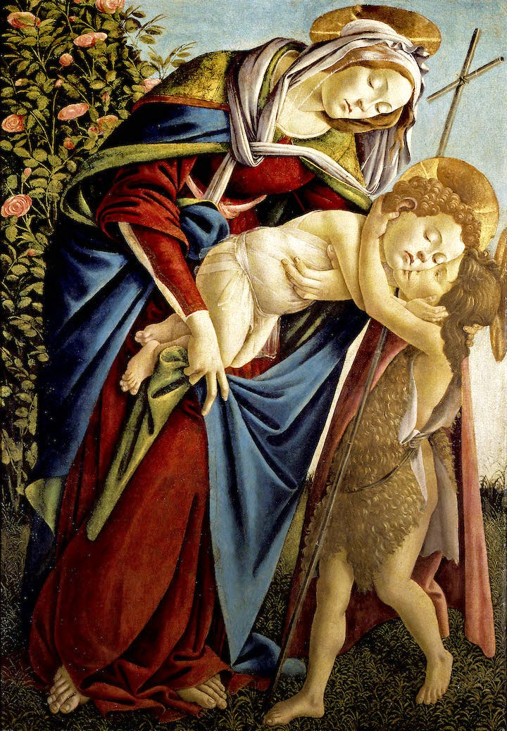 Madonna and Child with young Saint John (c. 1495), Sandro Botticelli. Palazzo Pitti; courtesy Museum of Fine Arts, Boston