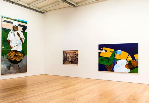 Installation view of The 4th (2012–17) and THE TIMES THAY AINT A CHANGING, FAST ENOUGH! (2017), by Henry Taylor, at the Whitney Biennial 2017. Collection of the artist; courtesy Blum & Poe, Los Angeles/New York/Tokyo | Collection of the artist; courtesy Rhona Hoffman Gallery, Chicago, and Sikkema Jenkins & Co., New York