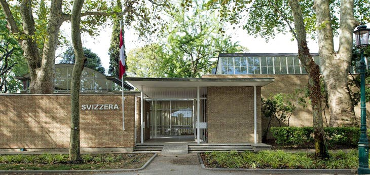 The Pavilion of Switzerland at the Giardini della Biennale, Venice, designed by Bruno Giacometti (1907–2012) and built in 1951–52. Courtesy Pro Helvetia