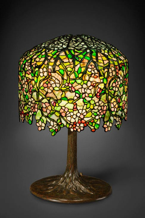 Apple Blossom table lamp (c. 1901–06), Tiffany Studios; probably designed by Clara Driscoll. Gift of Dr. Egon Neustadt. New-York Historical Society
