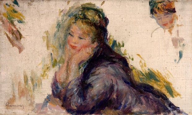 Woman Leaning on Her Elbows (1875–85), Pierre-Auguste Renoir. Gift of Henry W. and Marion H. Bloch, 2015